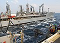 US Navy 091030-N-5538K-114 An underway replenishment detail aboard the amphibious transport dock ship USS Denver (LPD 9) connects a fuel probe.jpg