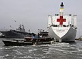 US Navy 110408-N-0480W-003 The Military Sealift Command hospital ship USNS Comfort (T-AH 20) pulls away from the pier at Naval Station Norfolk to b.jpg