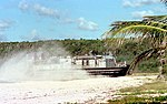 US Navy 990220-N-9593R-006 A landing craft air cushion (LCAC) hits the beach at Vieques Island.jpg