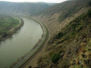Lower Moselle - 2. Terraced vineyards on the steep hillsides of the Koberner Uhlen (behind) and Winninger Uhlen in March