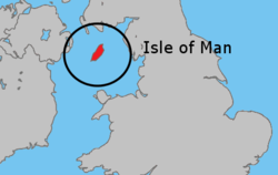 Lokasi  Isle of Man  (Hijau)