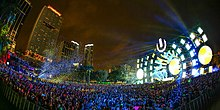 Ultra Music Festival 14 crowd and the stage from afar.