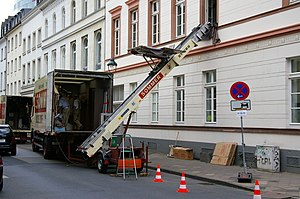 Moving company - Moving van and lift, Germany, 2007