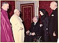 Unidentified man, Pope John XXIII, Mayor John F. Collins, Mary Collins, and unidentified man at the Vatican (10559646313).jpg