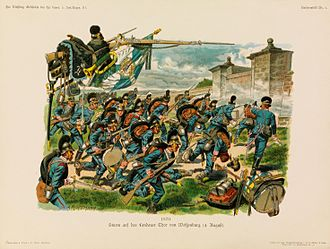 Franco-Prussian War - Bavarian infantry at the battle of Wissembourg, 1870.