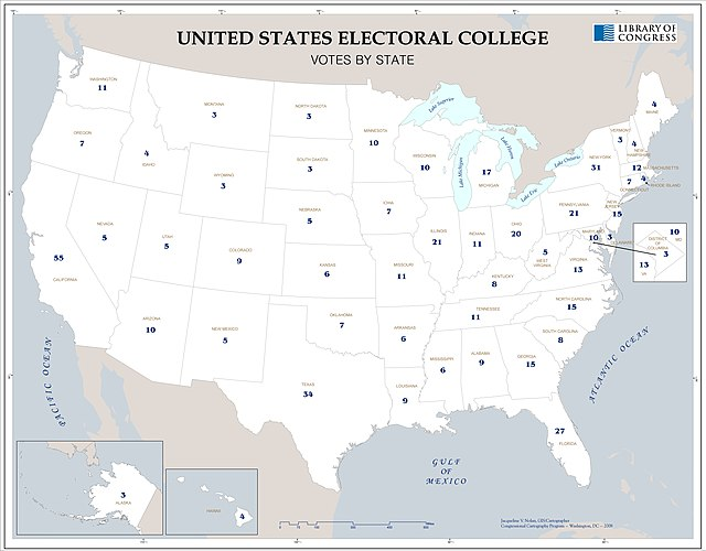 United States electoral college, votes by state LOC 2008626928