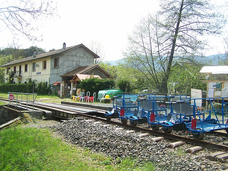 Departure of Vélorail (to Virieu-le-Grand) at the old railway station of Pugieu in Ain, France.