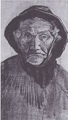 Head of an old fisherman with sou'wester