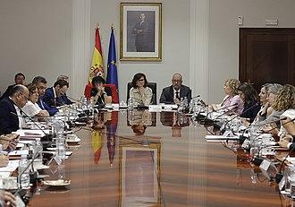 Carmen Calvo Poyato - Deputy PM Calvo presiding a meeting about equality