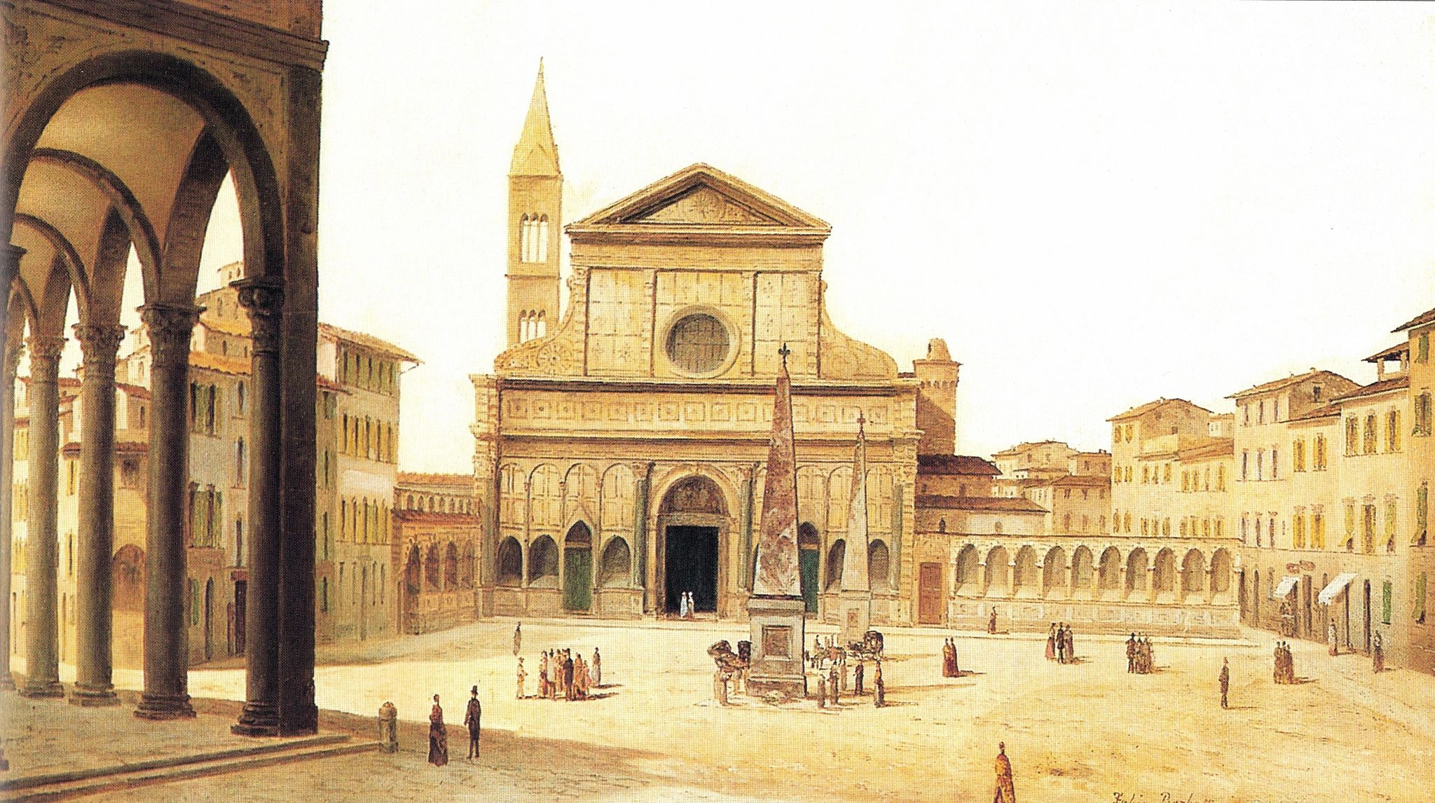 View of Ancient Florence by Fabio Borbottoni 1820-1902