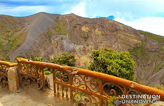 Irazú Volcano - View of main crater with damaged railing from past eruption