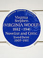Virginia Stephen (VIRGINIA WOOLF) 1882-1941 Novelist and Critic lived here 1907-1911.jpg