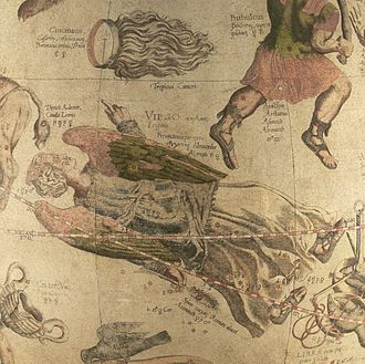 Coma Berenices - Coma Berenices on Mercator's 1551 celestial globe, in the upper left