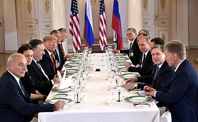 Talks between U.S. delegation headed by Trump and Russian delegation headed by Vladimir Putin at the summit in Helsinki, July 16, 2018. Vladimir Putin & Donald Trump in Helsinki, 16 July 2018 (4).jpg