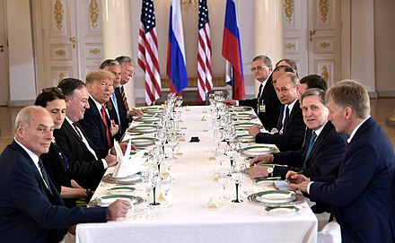 Talks between U.S. delegation headed by Donald Trump and Russian delegation headed by Putin at the summit in Helsinki, 16 July 2018 Vladimir Putin & Donald Trump in Helsinki, 16 July 2018 (4).jpg