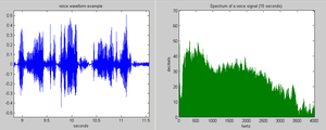 Spectral density - The voice waveform over time (left) has a broad audio power spectrum (right).