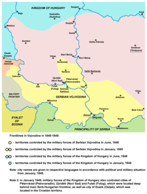 Serb uprising of 1848–49 - Frontlines