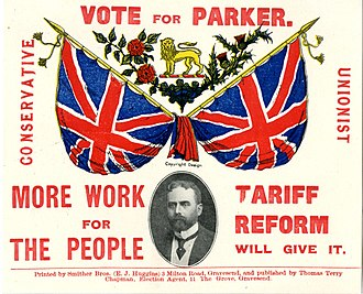 Sir Gilbert Parker, 1st Baronet - Vote for Gilbert Parker poster from roughly 1900, supporting Parker's campaign for Parliament