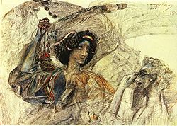 Six winged Seraph (after Pushkin's poem Prophet), 1905. By Mikhail Vrubel.