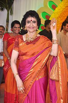 Vyjayanthimala at ایشا دیول's wedding at ISCKON temple in 2012