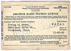 Amateur radio licensing in the United States - FCC amateur radio station license of Al Gross