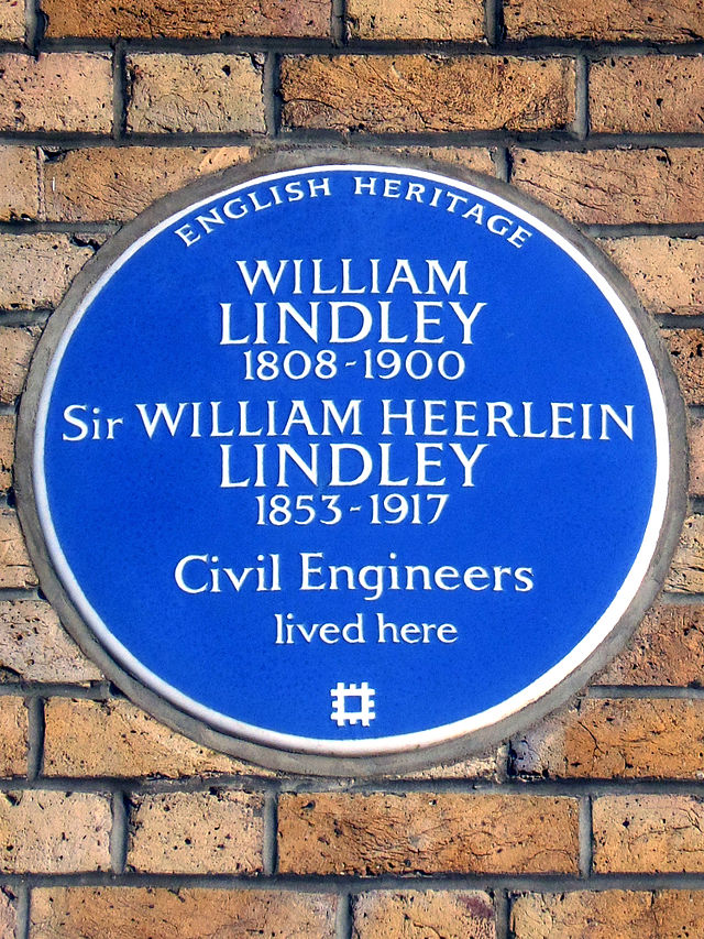 Photo of William Lindley and William Heerlein Lindley blue plaque