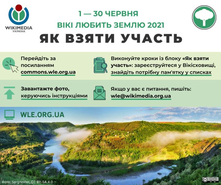 З 1 по 30 червня триватиме українська частина міжнародного фотоконкурсу «Вікі любить Землю»