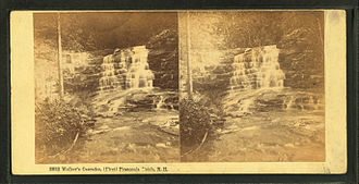 "Franconia Notch - ""Walker's Cascades, (First) Franconia Notch"" stereoscopic image by the Bierstadt Brothers"