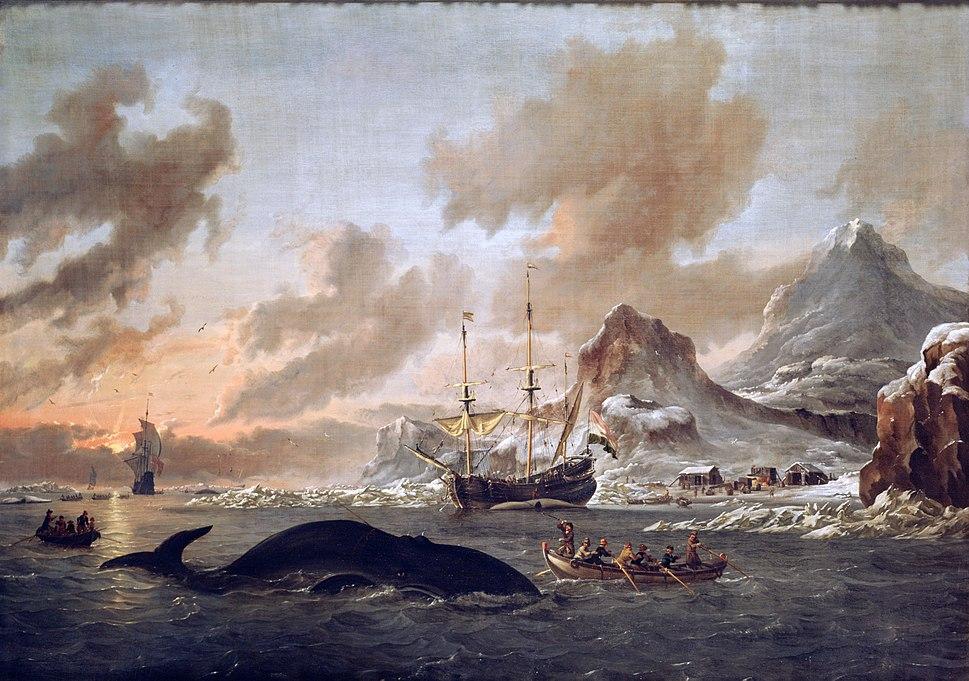 Walvisvangst bij de kust van Spitsbergen - Dutch whalers near Spitsbergen (Abraham Storck, 1690)