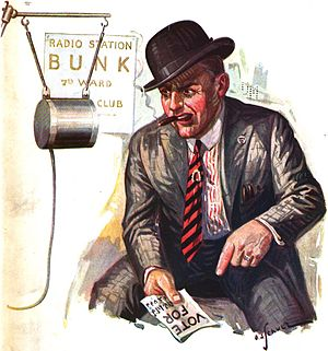 Ward heeler - A caricature of a ward heeler haranguing voters over the radio, from a 1922 magazine.