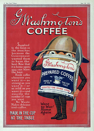 Coffee - A 1919 advertisement for G Washington's Coffee. The first instant coffee was invented by inventor George Washington in 1909.