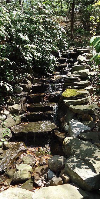 Short Hills, New Jersey - Waterfall garden at Hartshorn Arboretum in Short Hills.