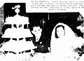 Wedding cake for aviators Ivy Pearce and Jason Hassard features a replica of the groom's monoplane, 1937.jpg