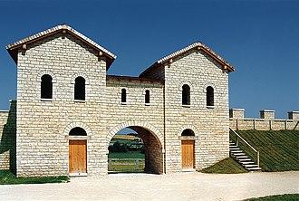 History of Franconia - 1990 replica of the Porta decumana of the Roman castle Biriciana. View over the camp ring road