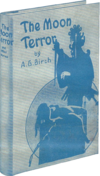 Monochrome blue-tinted photograph of a copy of The Moon Terror, a hard-backed book illustrated with a woman tied to an altar and an ornately dressed man about to sacrifice her; with a large moon or circle in the background.