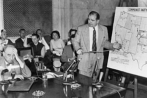 Army–McCarthy hearings -  Joseph N. Welch (left) being questioned by Senator Joseph McCarthy (right), June 9, 1954