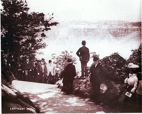 Thomas Vincent Welch and President William McKinley at Niagara Falls on Sept.6, 1901. Roughly 4 hours later McKinley was assassinated. Welch mckinley falls 1901 compressed.jpg