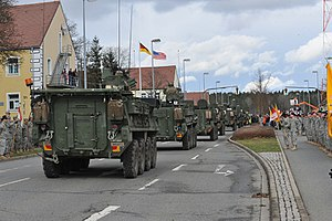 Vilseck - US Army Stryker armored vehicles return to Rose Barracks after Operation Dragoon Ride in 2015