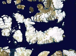 Devon Island - Satellite photo montage of Devon Island and its neighbours