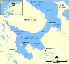 Белое море на карте