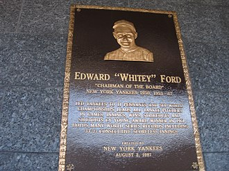 Whitey Ford - Whitey Ford's plaque at Monument Park in Yankee Stadium.