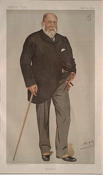 "William Wills, 1st Baron Winterstoke - ""Birdseye"". Caricature by Spy published in Vanity Fair in 1893."