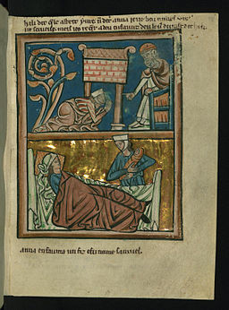 William de Brailes - Top - Hannah Prays in the Temple (1 Samuel 1 -9-17) - Walters W10617R - Full Page