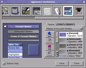 Window Maker - WPrefs graphical configuration tool