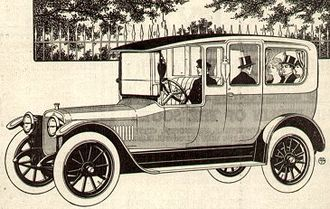 Limousine - Winton Six Limousine, 1915, with driver in a compartment separate from the passengers, a distinctive limousine feature