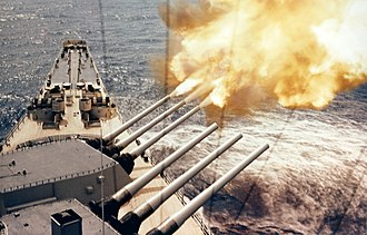 Blockade of Wonsan - USS Wisconsin firing on the Korean coast.