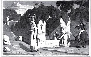 Stampa di inizio secolo XIX raffigurante donne che raccolgono l'acqua alla fontana di Guadagnolo