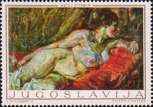 Matej Sternen - Woman on a Sofa (1914), a 1969 Yugoslavian stamp