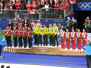 Three groups of women holding bouquets stand on a podium. The group on the left are wearing red tops and black pants, and have silver medals around their necks. The group on the center are wearing yellow tops and black pants, and have gold medals around their necks. The group on the right are wearing mostly white tops with red pants, and have bronze medals around their necks.