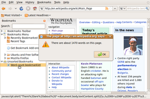"Bookmarklet - Demonstration of a bookmarklet that counts the number of words on the page. The browser shown is Firefox 3.0 with generic ""abrowser"" branding on Ubuntu."